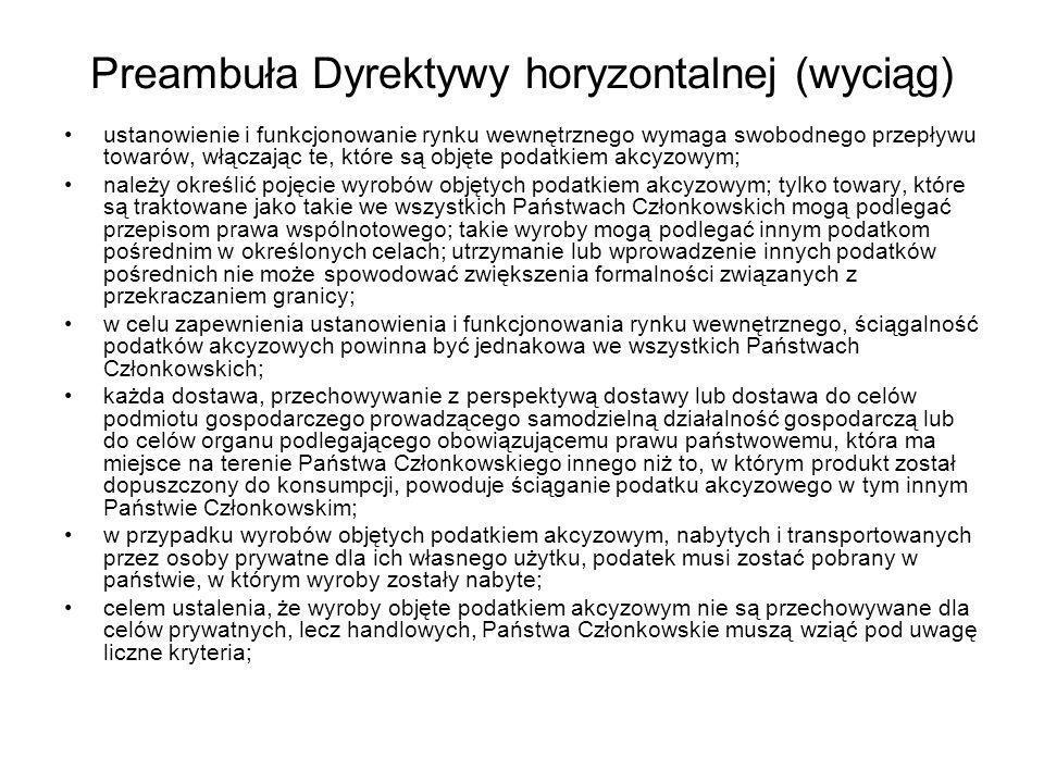 Preambuła Dyrektywy horyzontalnej (wyciąg)