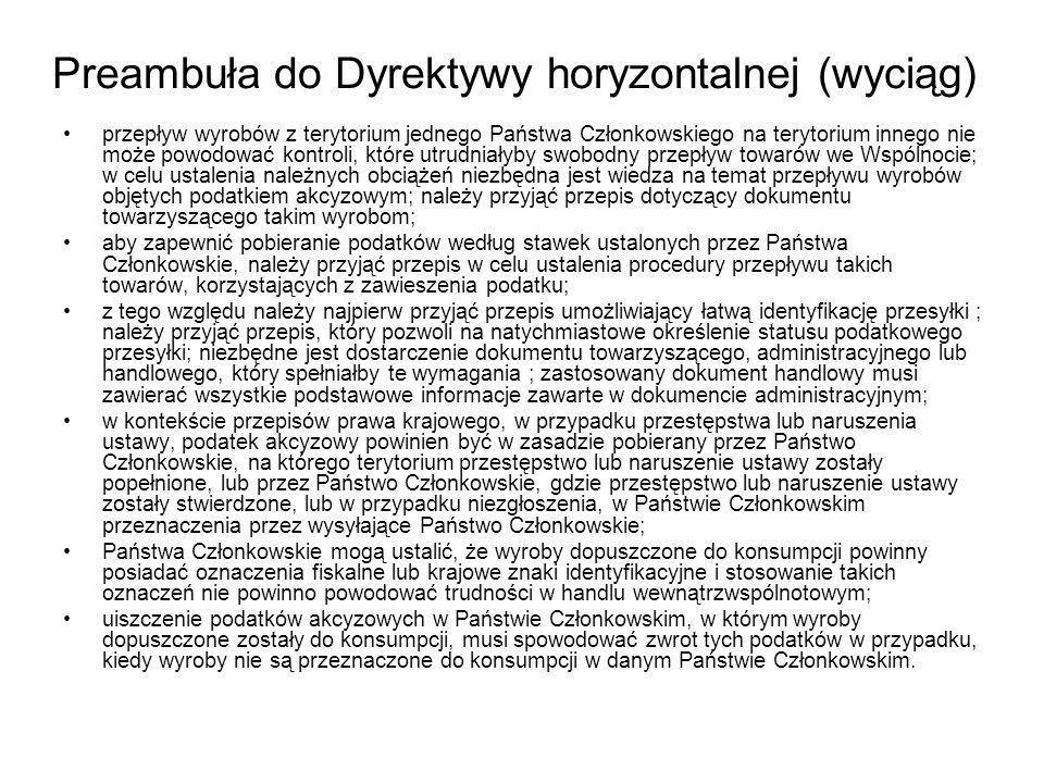 Preambuła do Dyrektywy horyzontalnej (wyciąg)