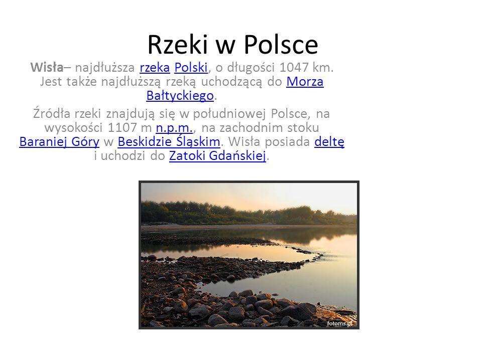 Rzeki w Polsce Wisła– najdłuższa rzeka Polski, o długości 1047 km. Jest także najdłuższą rzeką uchodzącą do Morza Bałtyckiego.