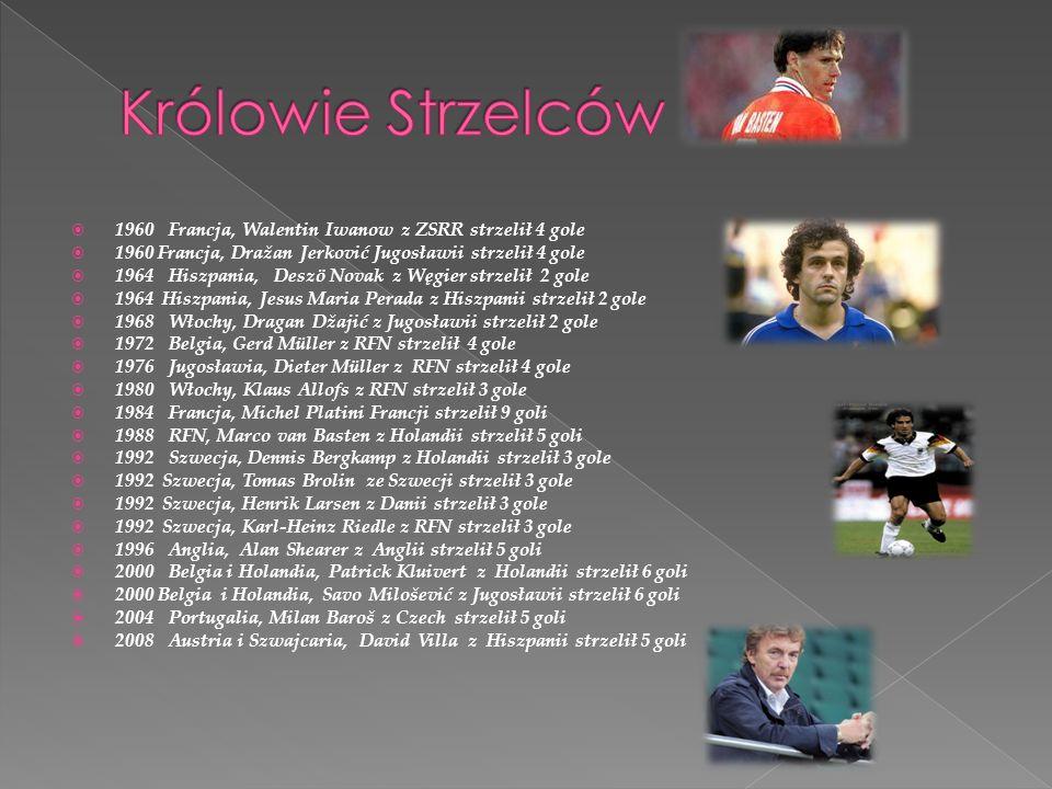 Królowie Strzelców 1960 Francja, Walentin Iwanow z ZSRR strzelił 4 gole. 1960 Francja, Dražan Jerković Jugosławii strzelił 4 gole.