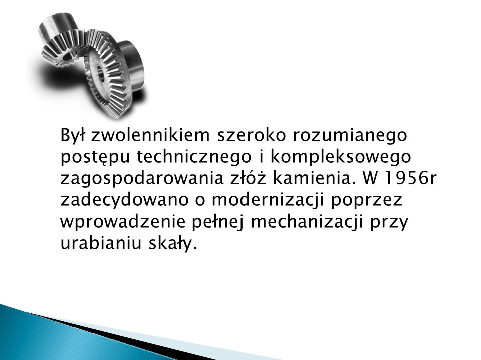 Był zwolennikiem szeroko rozumianego postępu technicznego i kompleksowego zagospodarowania złóż kamienia.