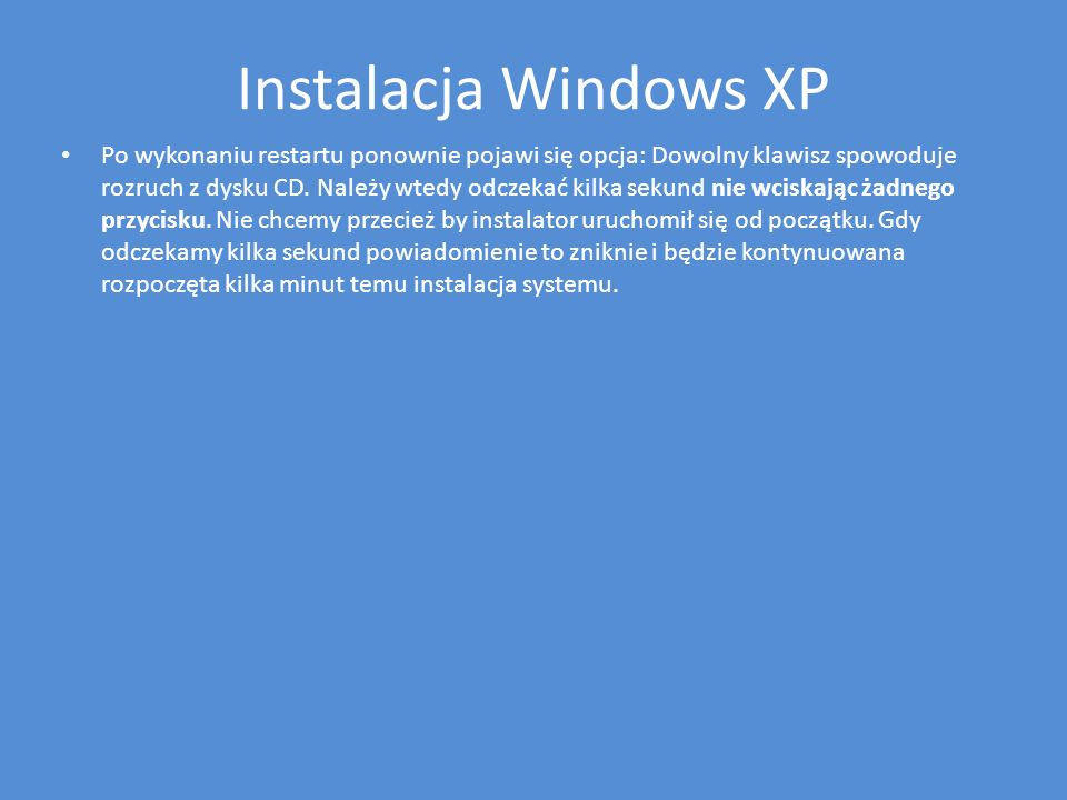 Instalacja Windows XP