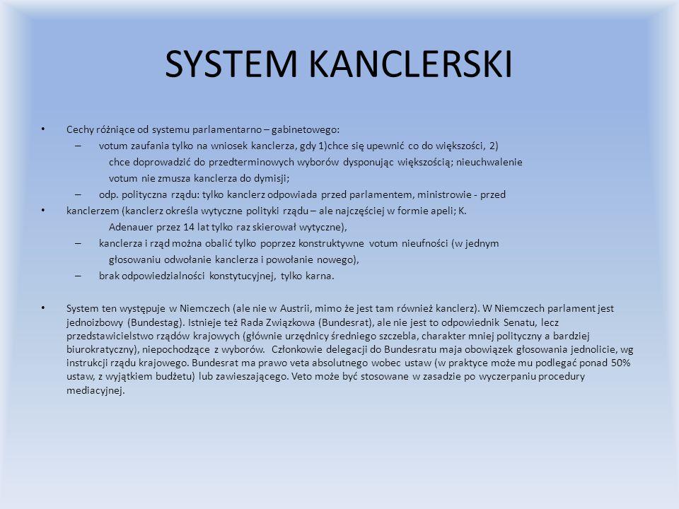 SYSTEM KANCLERSKI Cechy różniące od systemu parlamentarno – gabinetowego: