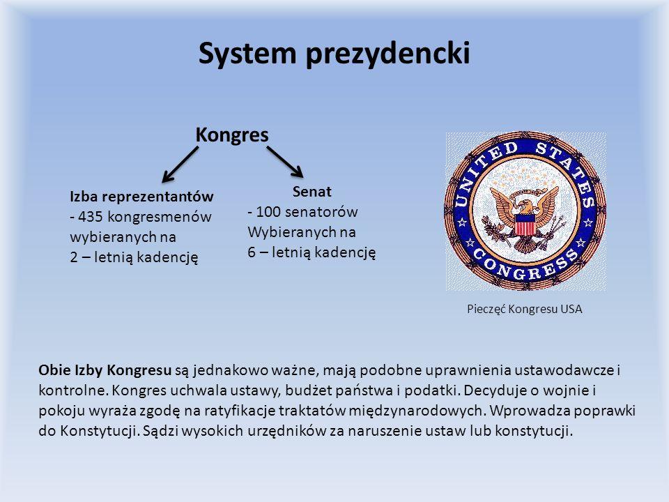 System prezydencki Kongres Senat Izba reprezentantów 100 senatorów