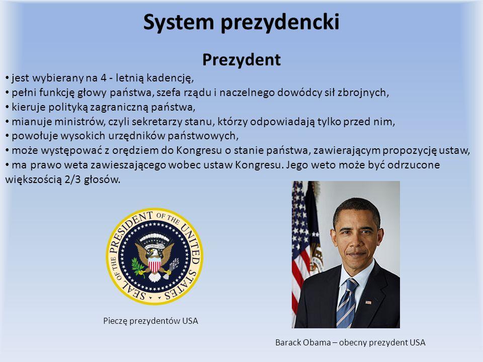 System prezydencki Prezydent jest wybierany na 4 - letnią kadencję,