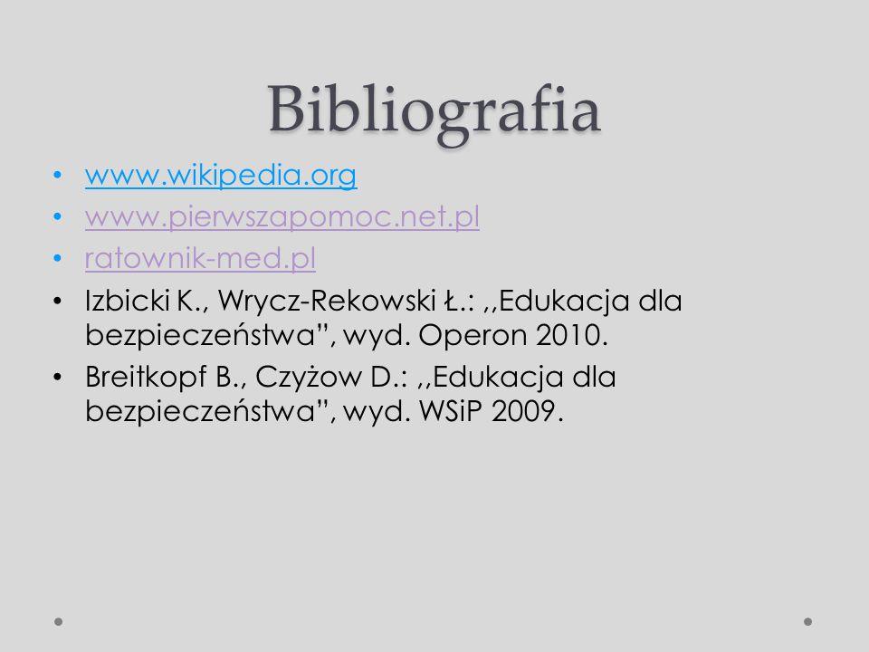 Bibliografia www.wikipedia.org www.pierwszapomoc.net.pl