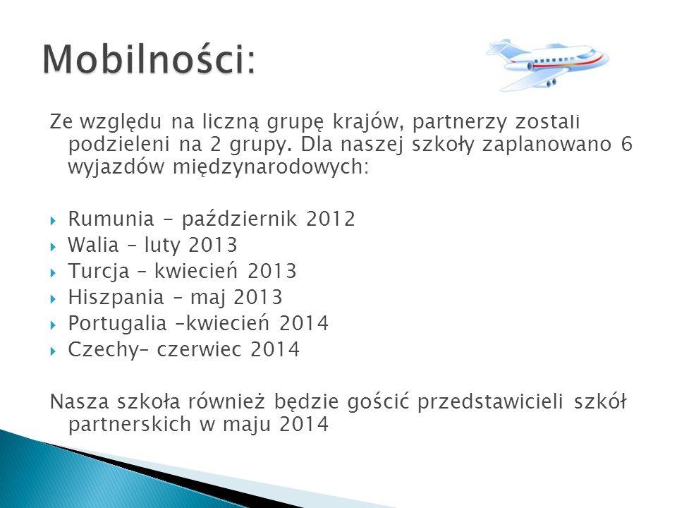 Mobilności: Ze względu na liczną grupę krajów, partnerzy zostali podzieleni na 2 grupy. Dla naszej szkoły zaplanowano 6 wyjazdów międzynarodowych: