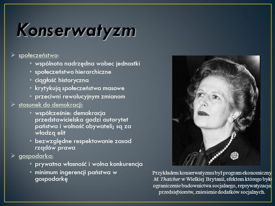 Przykładem konserwatyzmu był program ekonomiczny