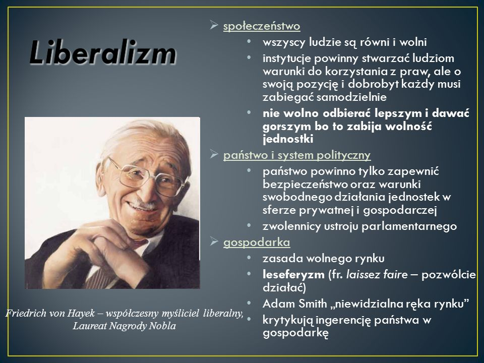 Friedrich von Hayek – współczesny myśliciel liberalny,