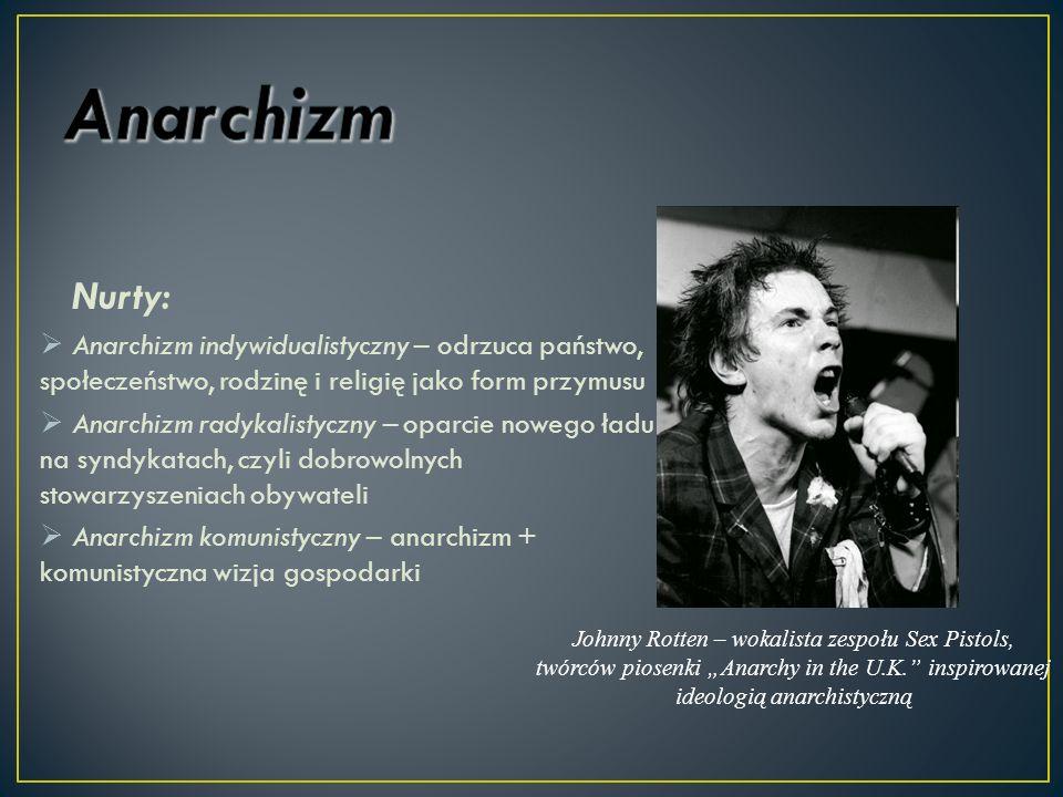 Anarchizm Nurty: Anarchizm indywidualistyczny – odrzuca państwo, społeczeństwo, rodzinę i religię jako form przymusu.