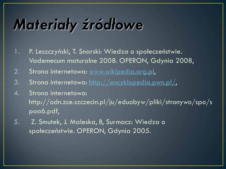 Materiały źródłowe P. Leszczyński, T. Snarski: Wiedza o społeczeństwie. Vademecum maturalne 2008. OPERON, Gdynia 2008,