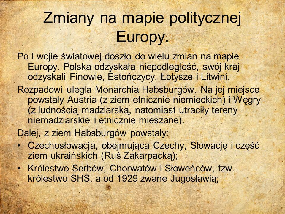 Zmiany na mapie politycznej Europy.