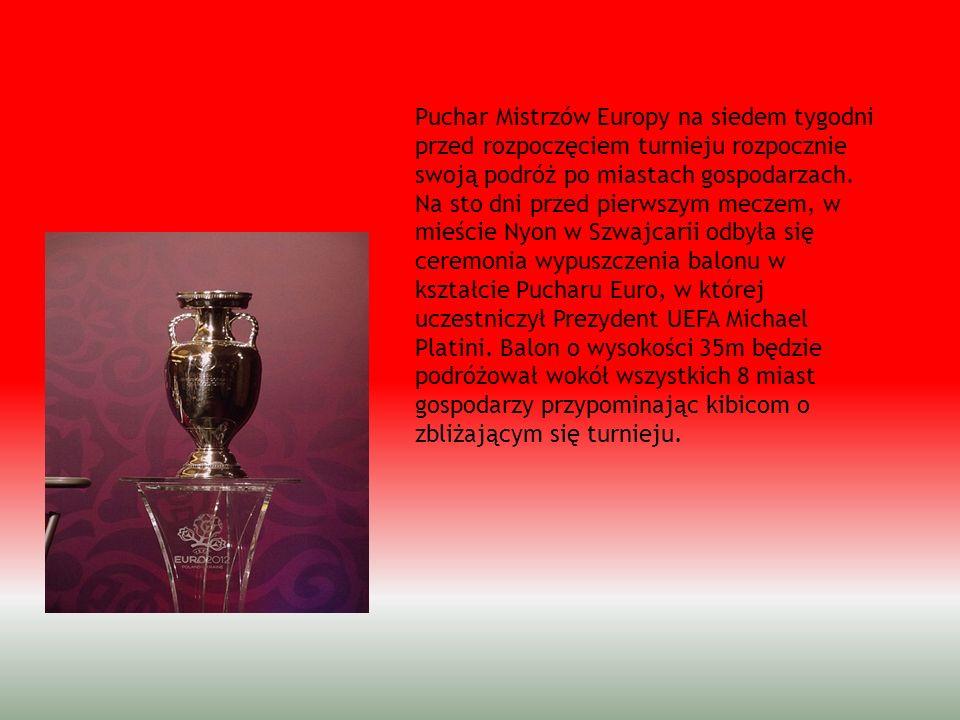 Puchar Mistrzów Europy na siedem tygodni przed rozpoczęciem turnieju rozpocznie swoją podróż po miastach gospodarzach. Na sto dni przed pierwszym meczem, w mieście Nyon w Szwajcarii odbyła się ceremonia wypuszczenia balonu w kształcie Pucharu Euro, w której uczestniczył Prezydent UEFA Michael Platini. Balon o wysokości 35m będzie podróżował wokół wszystkich 8 miast gospodarzy przypominając kibicom o zbliżającym się turnieju.