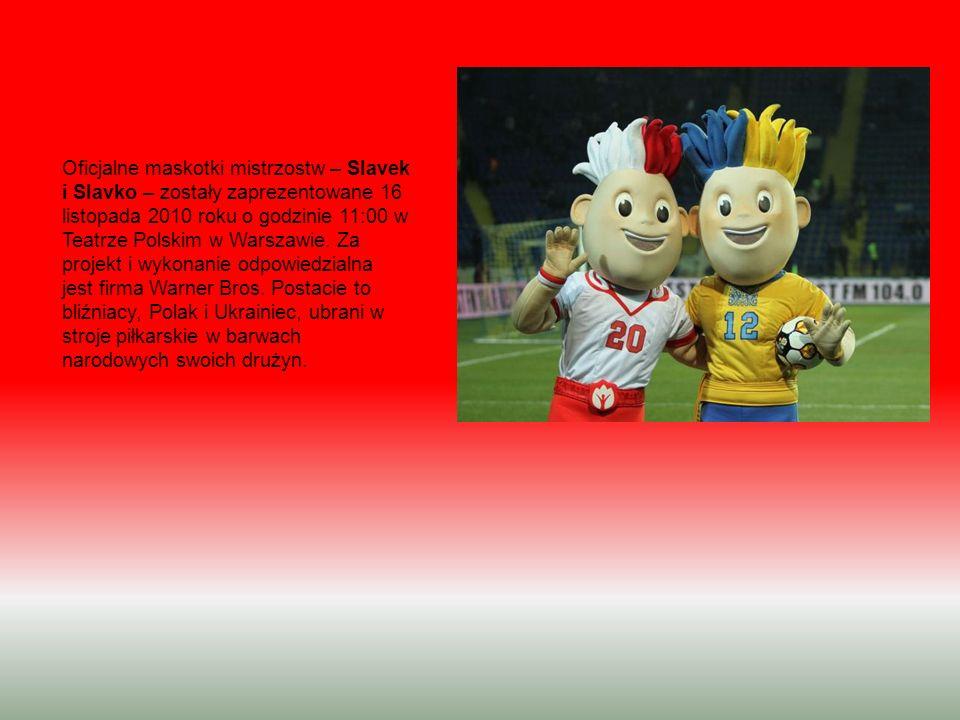 Oficjalne maskotki mistrzostw – Slavek i Slavko – zostały zaprezentowane 16 listopada 2010 roku o godzinie 11:00 w Teatrze Polskim w Warszawie.