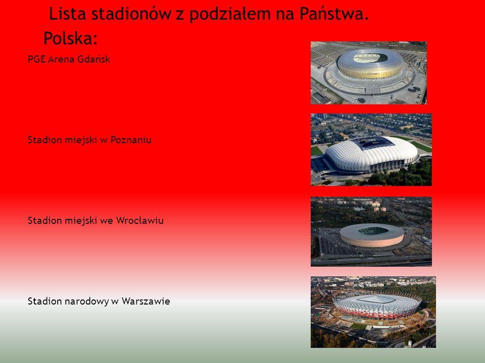 Lista stadionów z podziałem na Państwa. Polska: