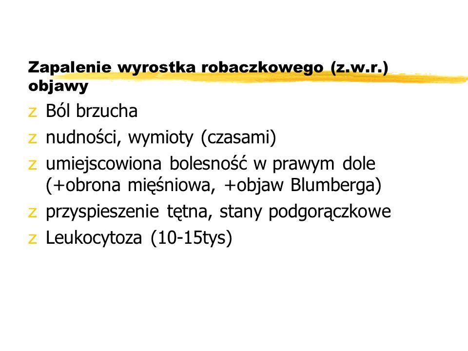 Zapalenie wyrostka robaczkowego (z.w.r.) objawy