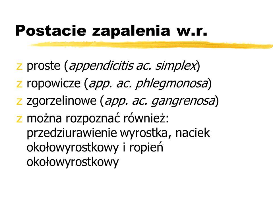 Postacie zapalenia w.r. proste (appendicitis ac. simplex)
