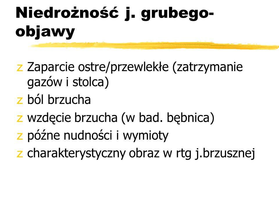 Niedrożność j. grubego-objawy