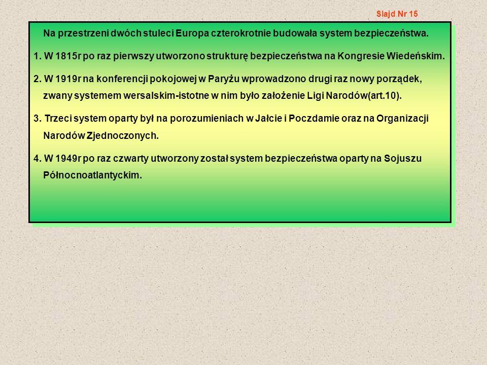 Slajd Nr 15 Na przestrzeni dwóch stuleci Europa czterokrotnie budowała system bezpieczeństwa.