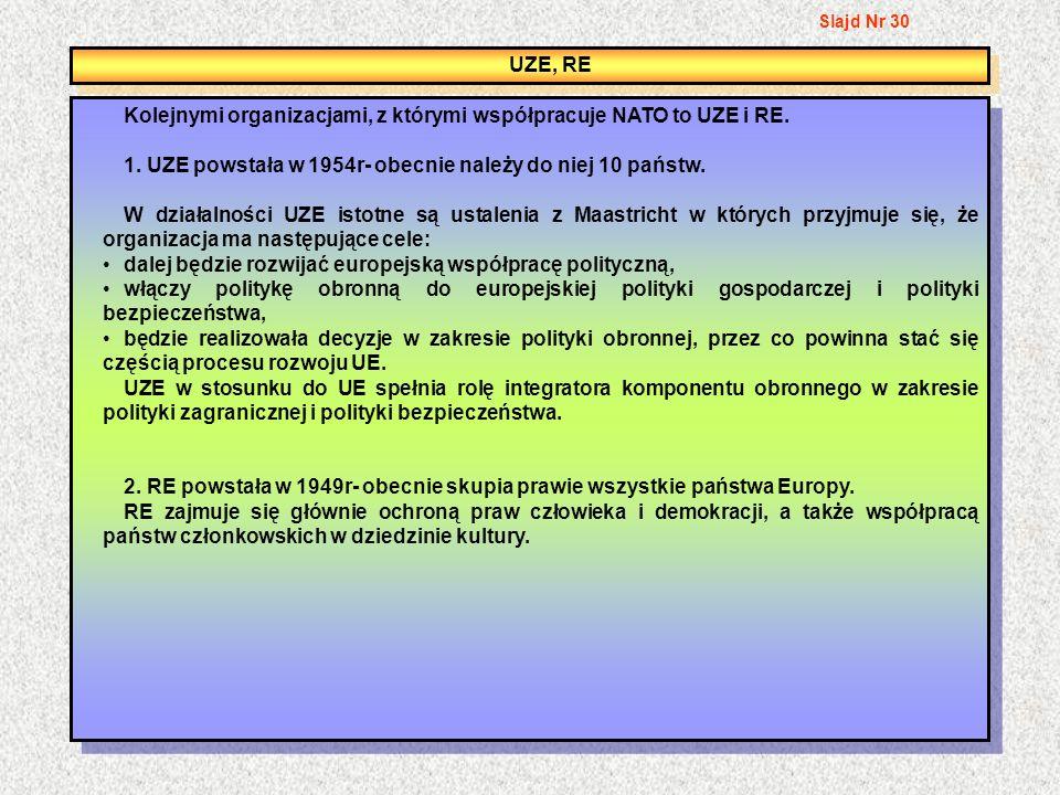 Kolejnymi organizacjami, z którymi współpracuje NATO to UZE i RE.