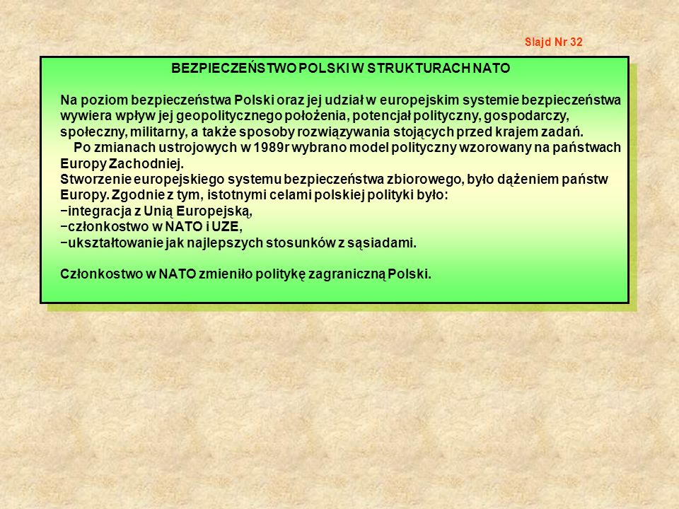 BEZPIECZEŃSTWO POLSKI W STRUKTURACH NATO