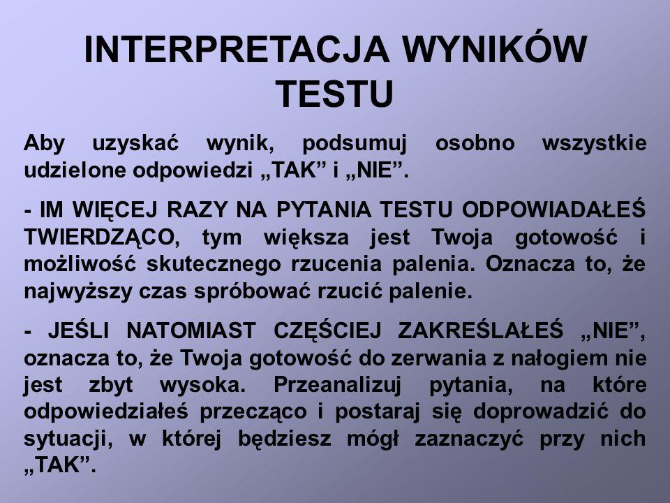 INTERPRETACJA WYNIKÓW TESTU