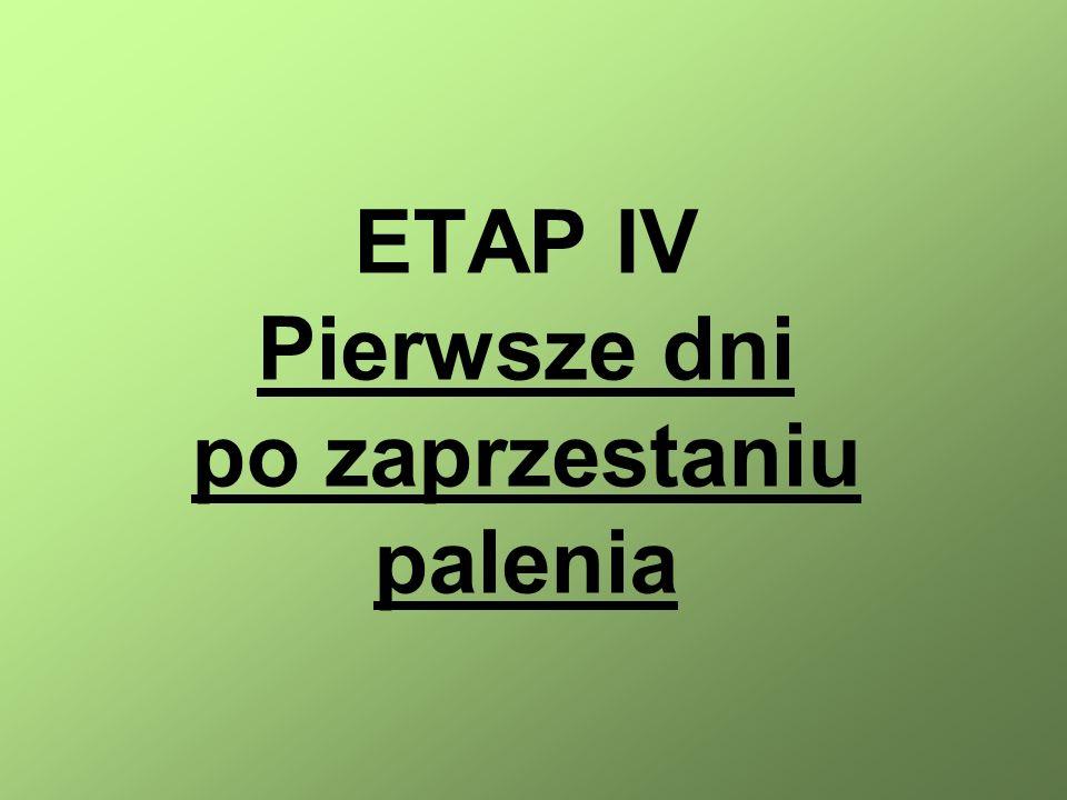 ETAP IV Pierwsze dni po zaprzestaniu palenia
