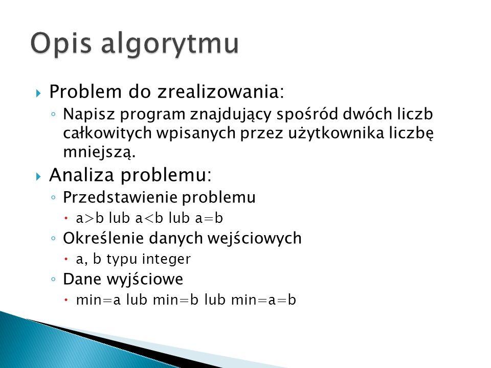 Opis algorytmu Problem do zrealizowania: Analiza problemu: