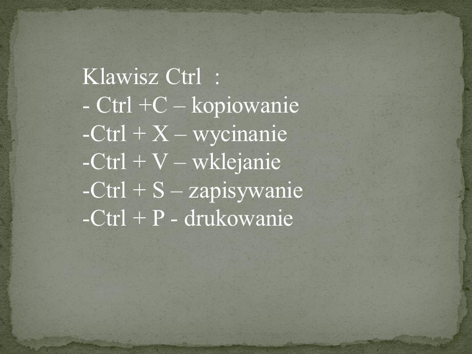 Klawisz Ctrl : Ctrl +C – kopiowanie. Ctrl + X – wycinanie. Ctrl + V – wklejanie. Ctrl + S – zapisywanie.
