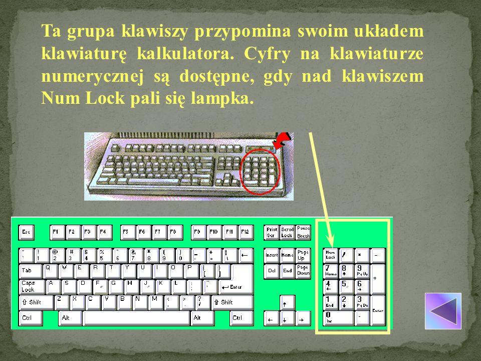 Ta grupa klawiszy przypomina swoim układem klawiaturę kalkulatora