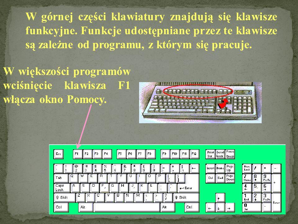 W górnej części klawiatury znajdują się klawisze funkcyjne