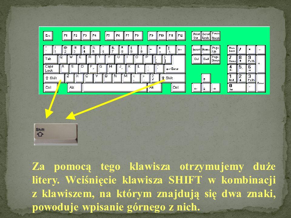 Za pomocą tego klawisza otrzymujemy duże litery