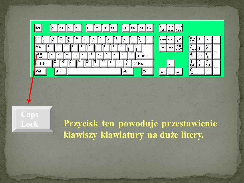 Caps Lock Przycisk ten powoduje przestawienie klawiszy klawiatury na duże litery.