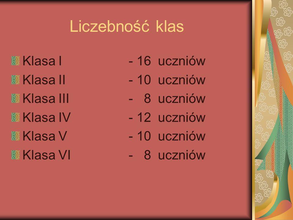 Liczebność klas Klasa I - 16 uczniów Klasa II - 10 uczniów