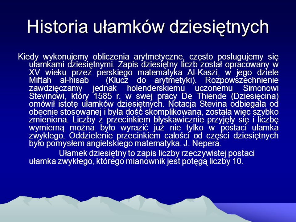 Historia ułamków dziesiętnych