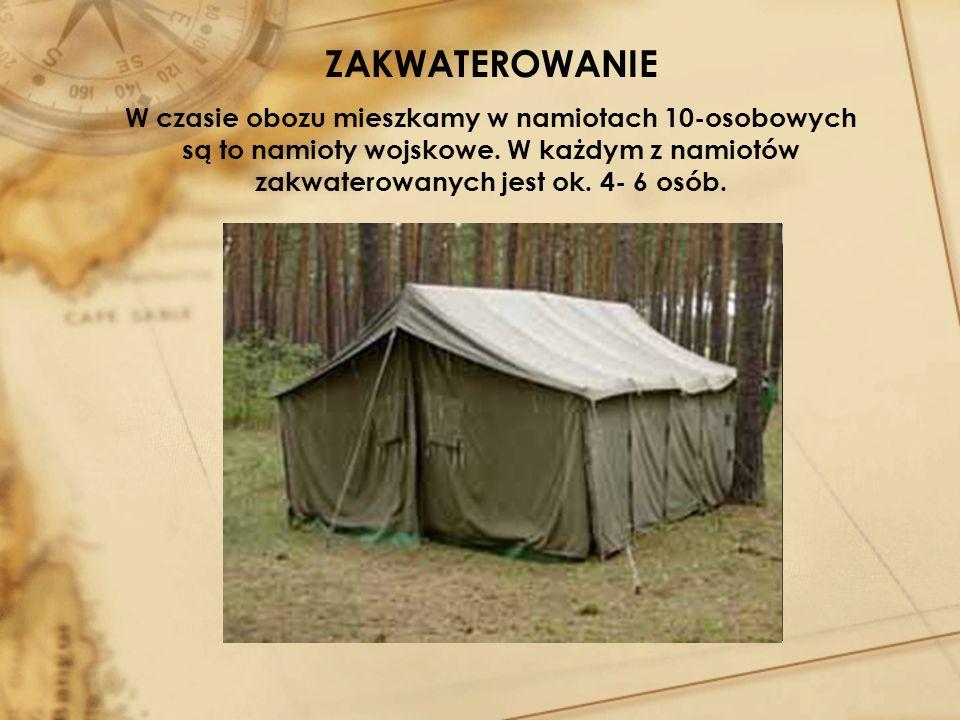 ZAKWATEROWANIEW czasie obozu mieszkamy w namiotach 10-osobowych są to namioty wojskowe.