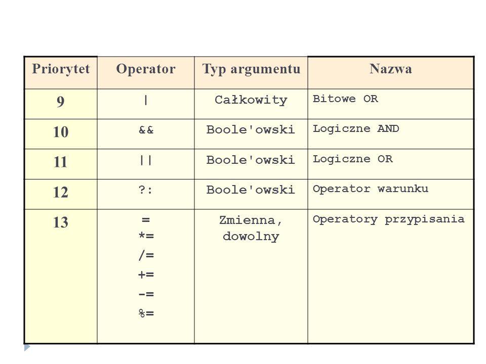 9 10 11 12 13 Priorytet Operator Typ argumentu Nazwa | Całkowity &&