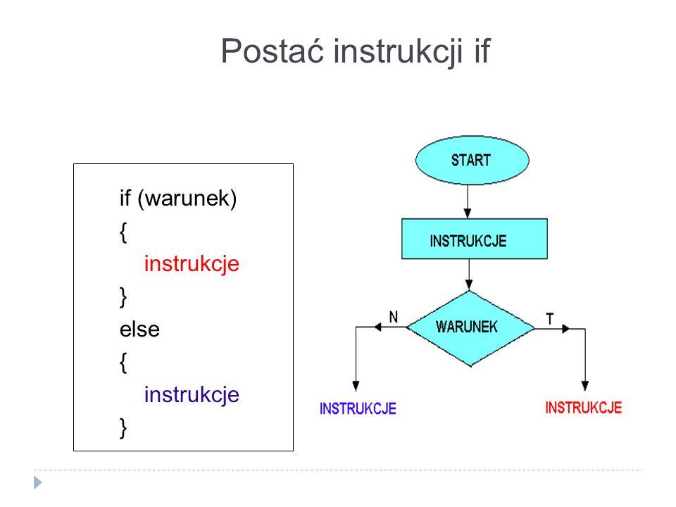 Postać instrukcji if if (warunek) { instrukcje } else