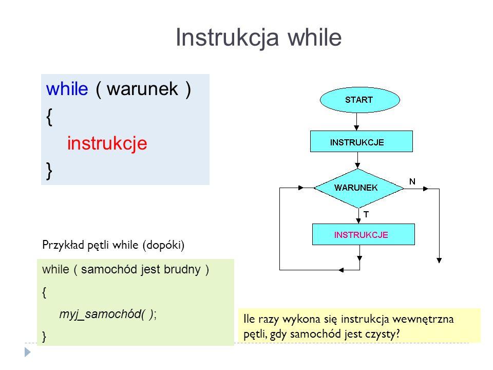 Instrukcja while while ( warunek ) { instrukcje }