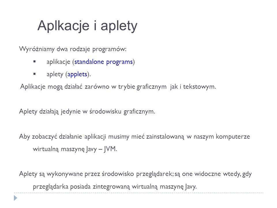Aplkacje i aplety Wyróżniamy dwa rodzaje programów: