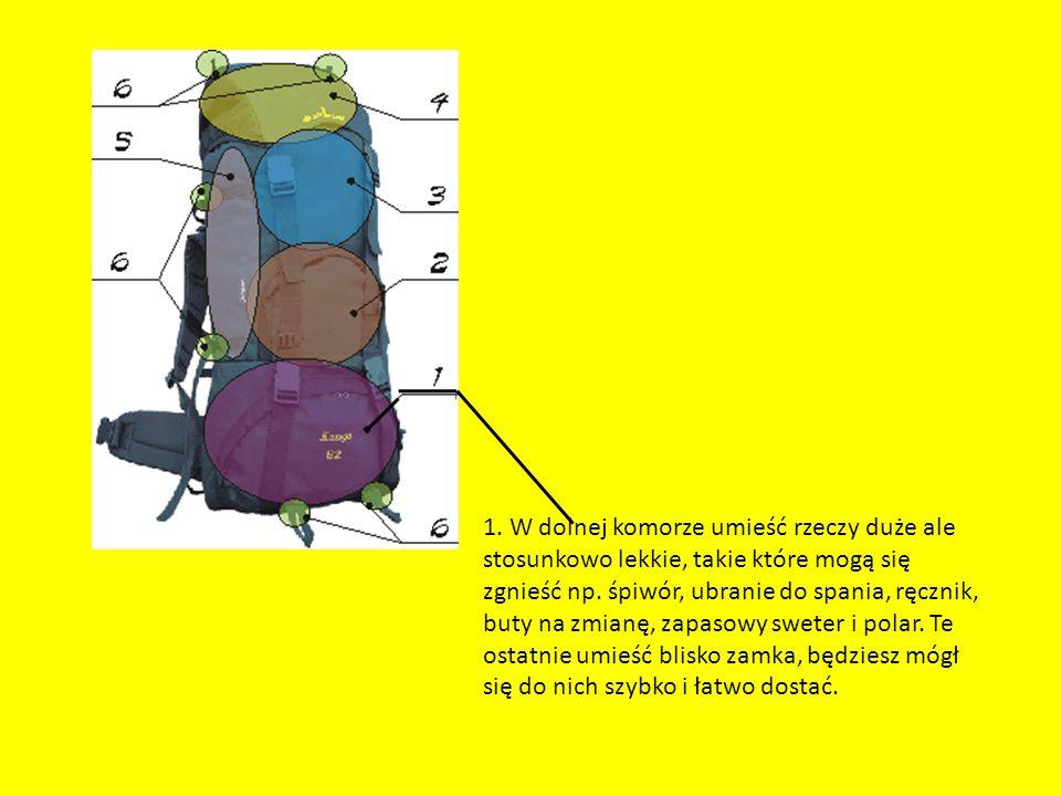 1. W dolnej komorze umieść rzeczy duże ale stosunkowo lekkie, takie które mogą się zgnieść np.