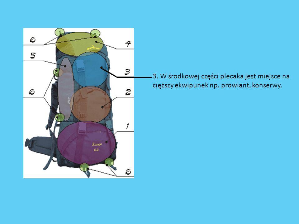 3. W środkowej części plecaka jest miejsce na cięższy ekwipunek np