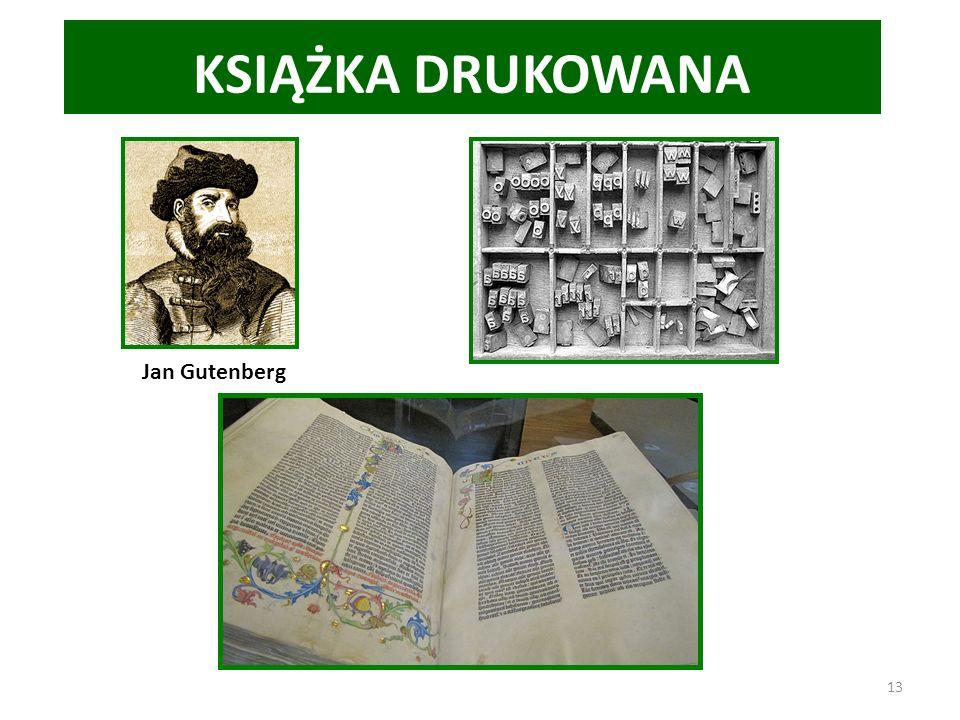 KSIĄŻKA DRUKOWANA Jan Gutenberg
