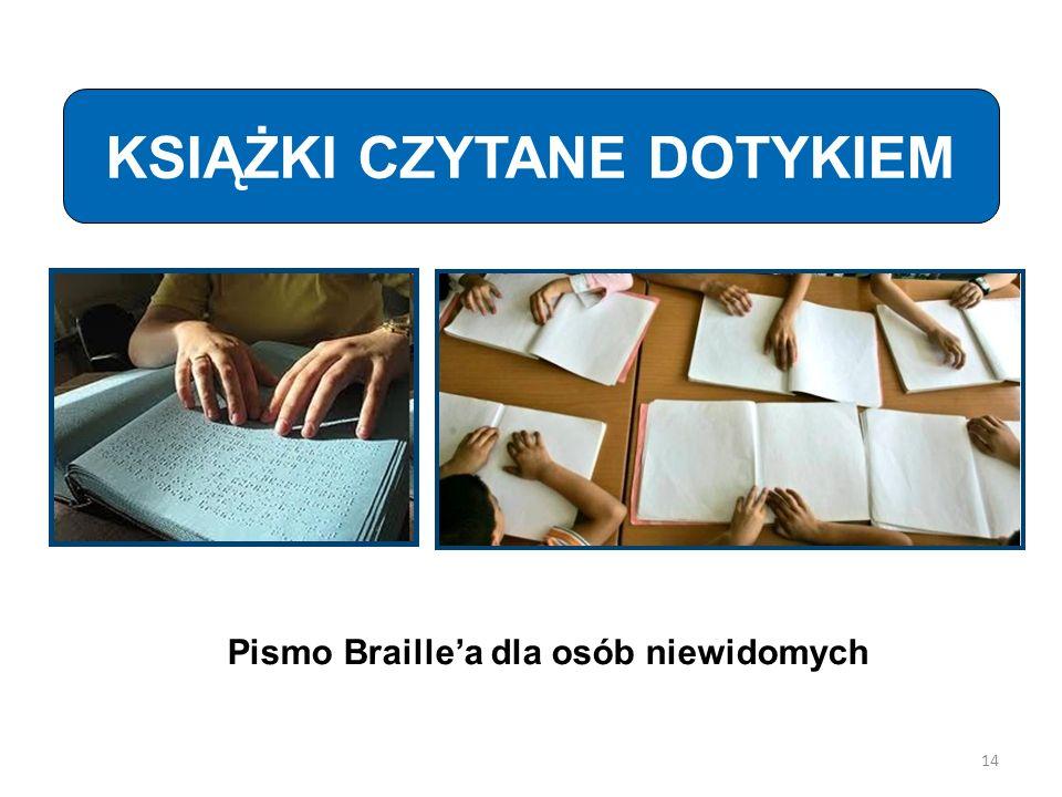 KSIĄŻKI CZYTANE DOTYKIEM Pismo Braille'a dla osób niewidomych