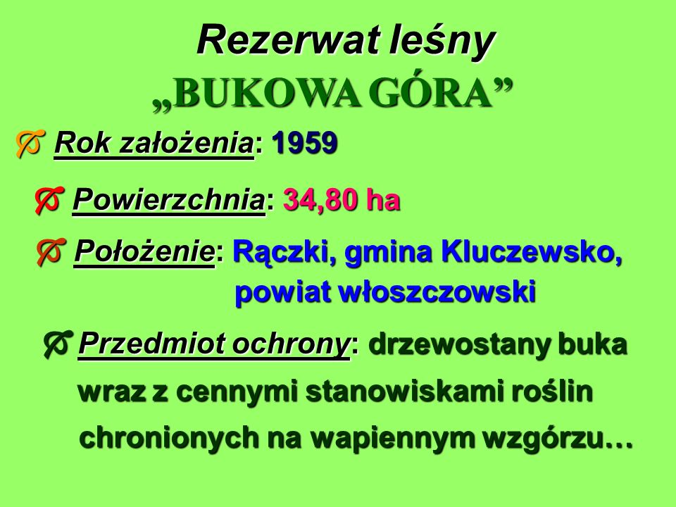 """Rezerwat leśny """"BUKOWA GÓRA  Rok założenia: 1959"""