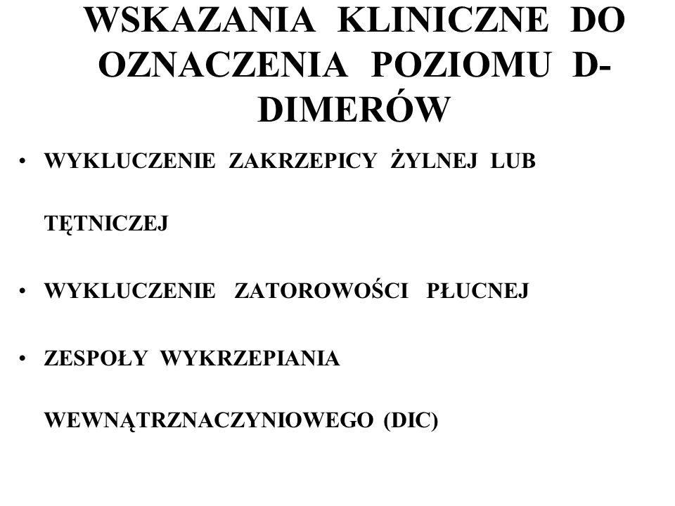 WSKAZANIA KLINICZNE DO OZNACZENIA POZIOMU D-DIMERÓW