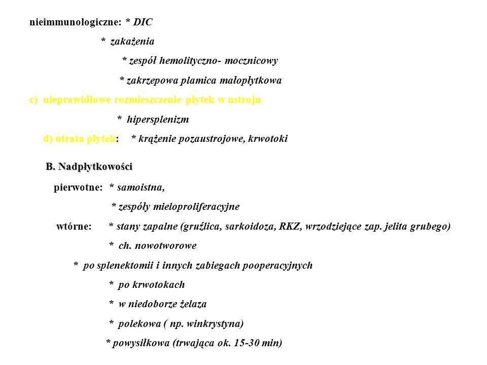 B. Nadpłytkowości nieimmunologiczne: * DIC * zakażenia