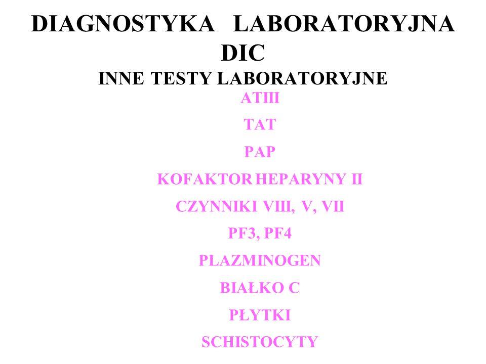 DIAGNOSTYKA LABORATORYJNA DIC INNE TESTY LABORATORYJNE