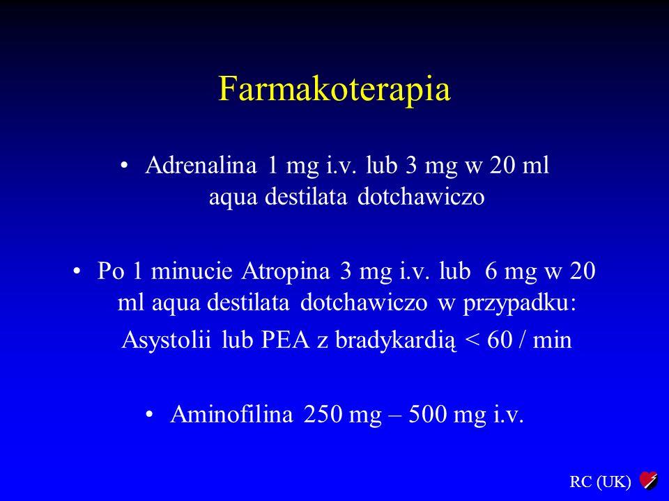 Farmakoterapia Adrenalina 1 mg i.v. lub 3 mg w 20 ml aqua destilata dotchawiczo.