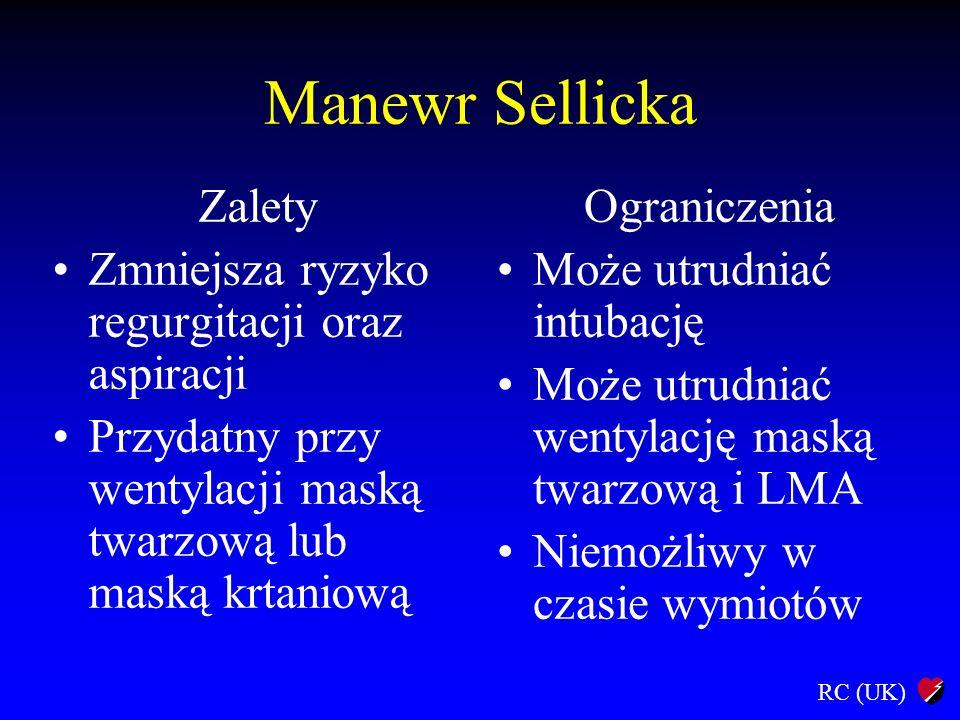 Manewr Sellicka Zalety Zmniejsza ryzyko regurgitacji oraz aspiracji